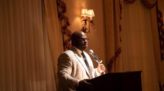 <p>Dr. Tony Allen, Executive Vice President and Provost, expresses his appreciation for being honored with the Excellence in Education Award by the Delaware Barristers Association.</p>
