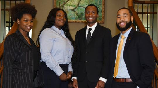 <p>College of Business team of (l-r) Yazmin Harris, Faith Olasupo, Job Albarr and Corbin Weatherspoon, took second place in the HP Omen Business Case Competition</p>