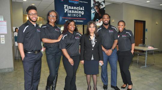 <p>(L-r) Tabias Slaughter, Raven Wainwright, Whitney Douglas, Dr. Nandita Das, Reginald Adams and J'Lynn Drennan, represent the founding instructor and students of the new Financial Planning minor.</p>