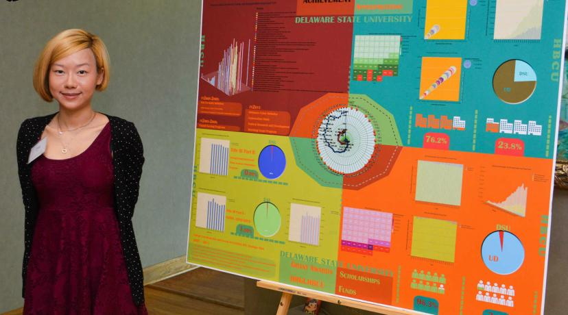 <p>Student presenting at the Research Day event</p>