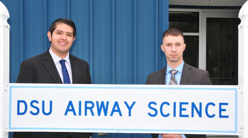 <p>The 4.0 academic performance of (l-r) Edgar Ortiz and Kirk Prange was the first time two Aviation majors have completed their undergraduate journey with a perfect GPA.</p>