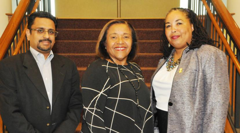 <p>DSU College of Business leadership: (l-r) Dr. Praveen Pinjani, associate dean; COB Dean Donna Covington; and Dr. Lynda Murray-Jackson, associate professor.</p>