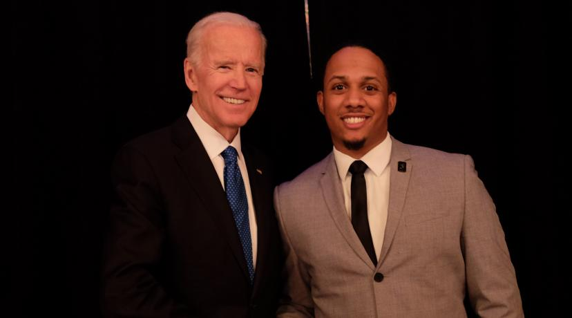 <p>Former U.S. Vice President Joe Biden (l) congratulates Kyle Sheppard after presenting him the Biden Courage Award for his work at DSU to prevent sexual and domestic abuse.</p>