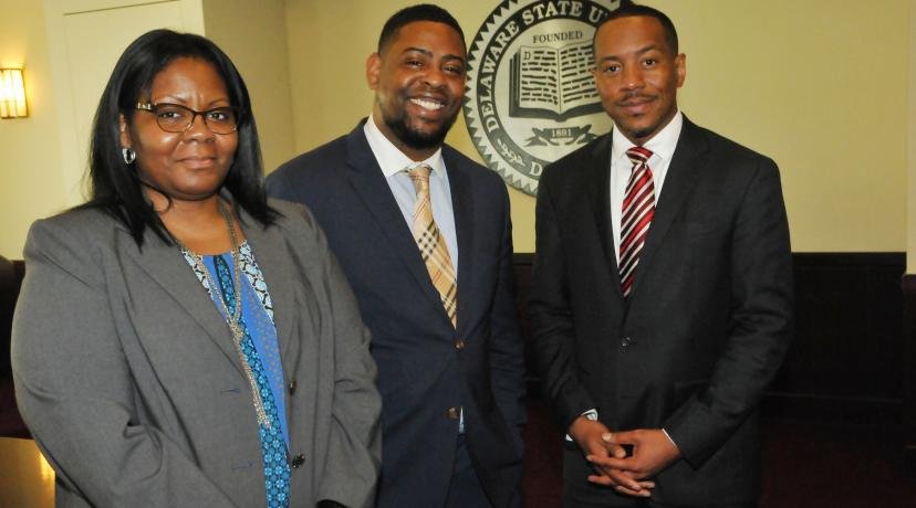 <p>New Enrollment Management leadership: (l-r) Toshia Williams, executive director of Student Accounts; Al Dorsett, executive director of Financial Aid; and Kareem McLemore, executive director of Admissions. They will all report directly to Antonio Boyle, vice president of Enrollment Management.</p>