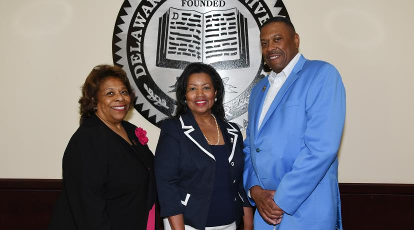 <p>The Board of Trustees voted on June 15 to select Dr. Wilma Mishoe as the 11th permanent president in DSU history. Also elected that day were Board Chair Dr. Devona Williams and Board Vice Chair John Ridgeway.</p>
