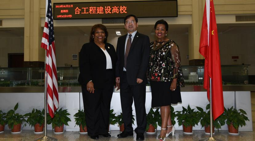 <p>From left are DSU President Wilma Mishoe, NBUT President Lyn Zhongda and DSU Board of Trustees Chairperson Devona Williams.</p>
