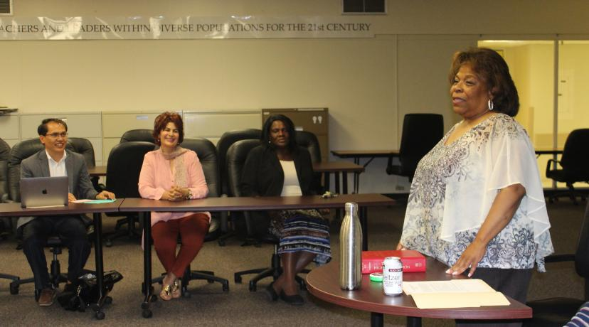 <p>University President Wilma Mishoe shares her experience in policy development and implementation with a class of Delaware State University doctoral candidates.</p>