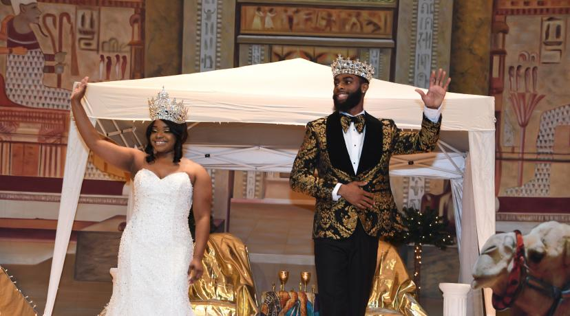 <p>(L-r) The crowned Olivia Moncrieffe and Raphael Jason-Morgan soak up the love as they officially became Mr. and Miss Delaware State University during the Coronation Ceremony in the E&H Theatre.</p>