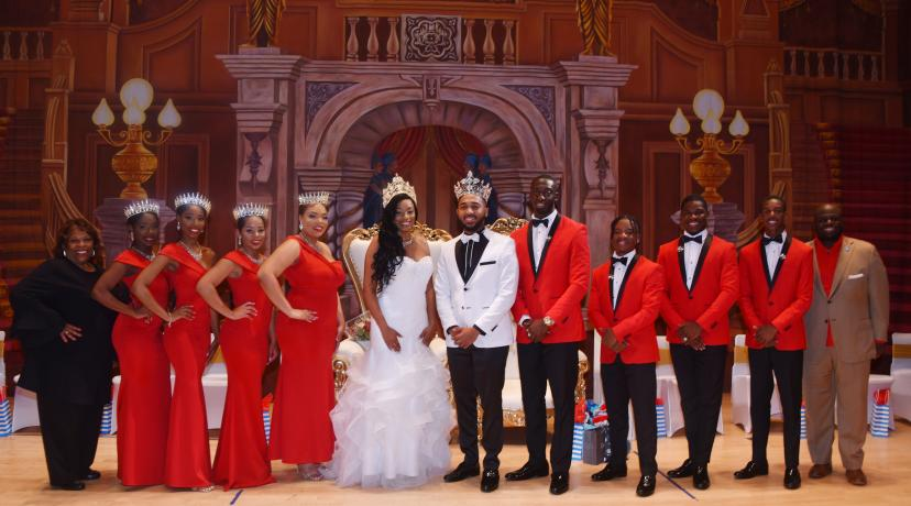 <p>Miss and Mr. Delaware State University with their Royal Court and University President Wilma Mishoe and Provost Tony Allen</p>