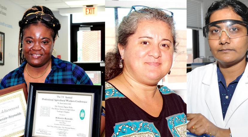 <p>Pictured L to R: PetrinaMcKenzie-Reynolds, Dr. Gulnihal Ozbay, Dr. KarunaChintapenta. Not pictured: TajjayGordon.</p>