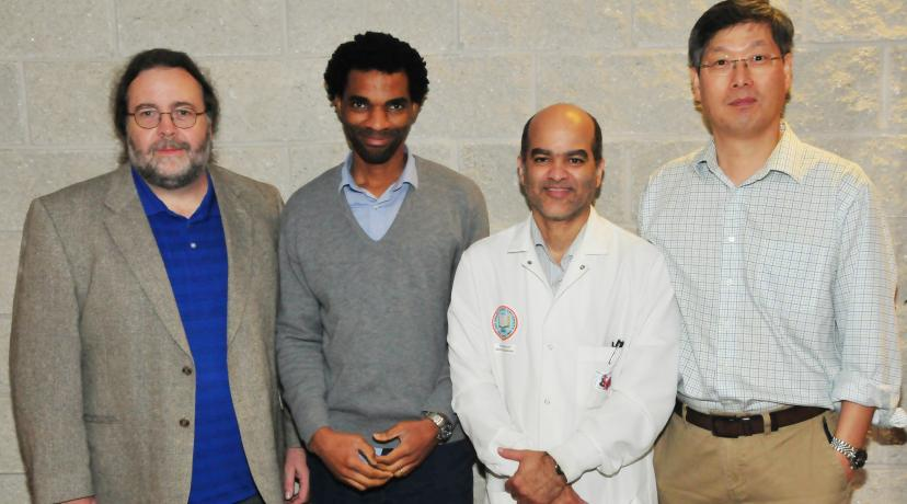 <p>(L-r) Dr. Michael Gitcho, associate professor and principal investigator of the grant; along with co-PIs Dr. Hakeem Lawal, associate professor; Dr. Karl Milleti, associate professor; and Dr. Y. Hwan Kim, associate professor -- all biological sciences researchers -- have jointly received a $252,639 National Science Foundation Instrumentation Grant.</p>