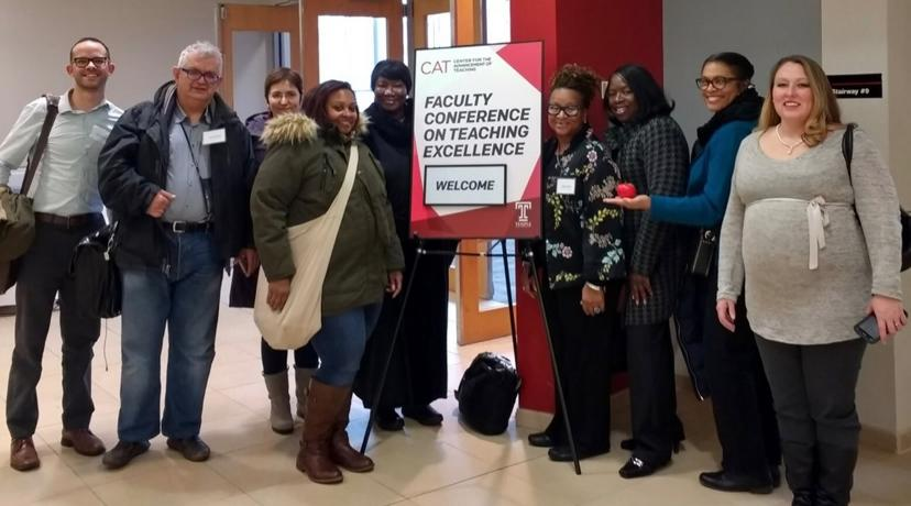 <p>From left are faculty members Dr. Brody Bluemel, Dr. David Pokrajac, Onur Yanuz, Amber Ward-Cooper, Vesta Viddy, Natalie Belcher, Dr. Phyllis Brooks-Collins, Fran Franklin and Kara Gomez. (Not pictured: Dr. Robin Krawitz)</p>