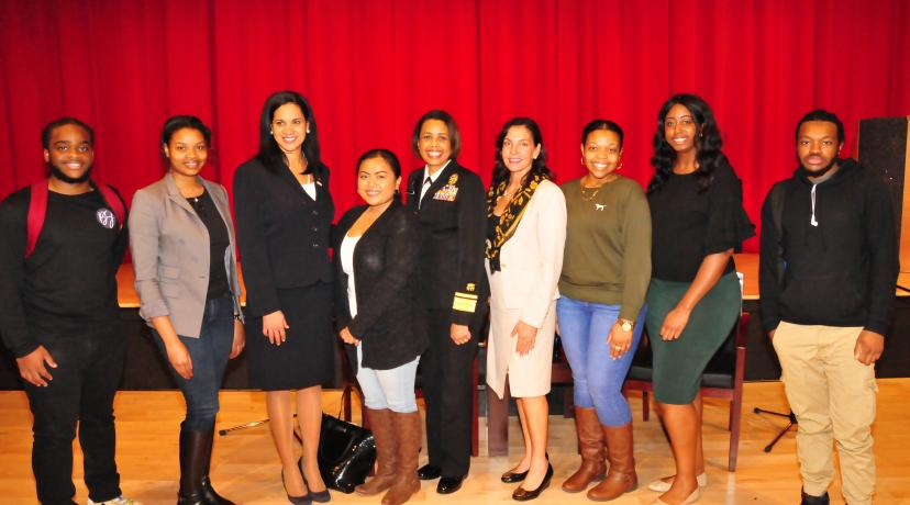 <p>Deputy U.S. Surgeon General Dr. Sylvia Trent-Adams (center in military uniform) poses with DSU students. Two persons to the left of Dr. Trent-Adams is Delaware Secretary of Health and Social Services Dr. Kara Odom-Walker.</p>