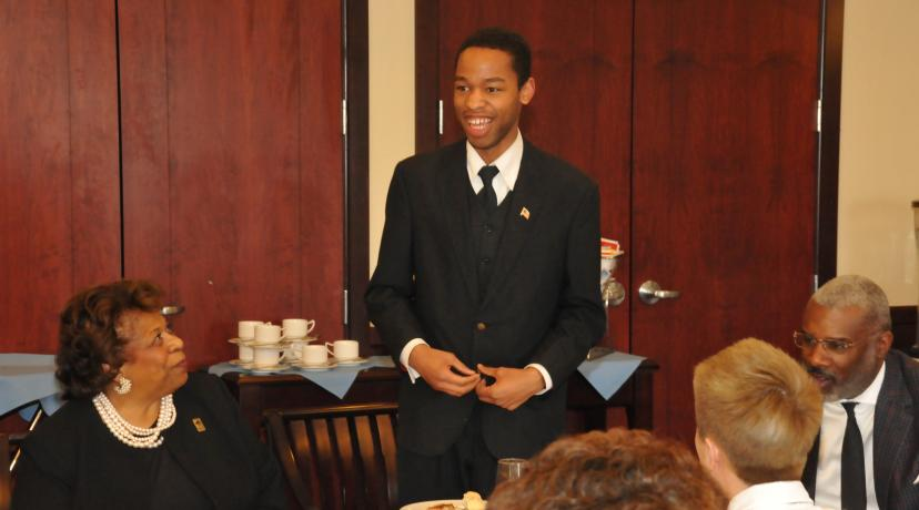 <p>Joshua Patterson, a senior biological sciences major and a recipient of the Board of Trustees Scholarship, expresses his appreciation to the board for their the financial support.</p>