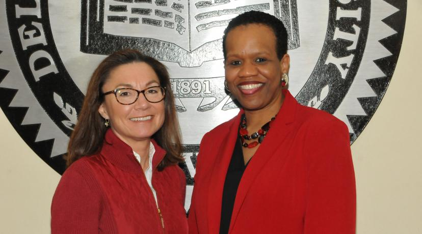 <p>(L-r) Jocelyn Stewart and Bernadette Dorsey Whatley were sworn in as the DSU Board of Trustees' newest members during their March 15 public meeting</p>