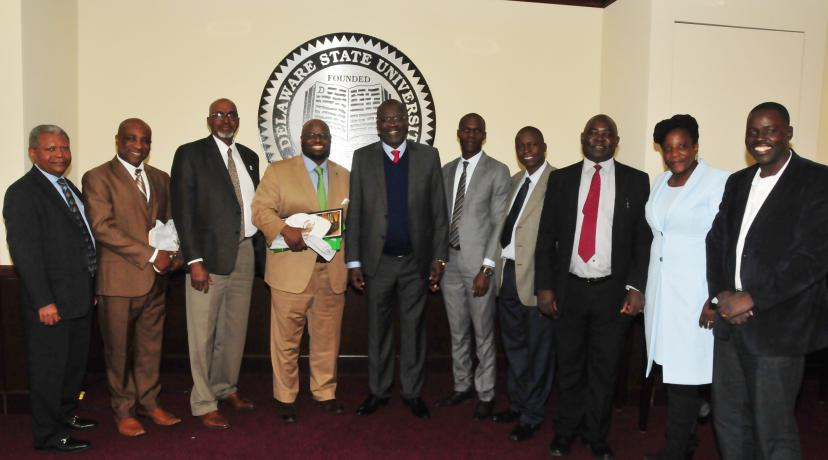 <p>(L-r) Dr. Marikis Alverez, Dr. Samuel Besong, Dean Dyremple Marsh, Provost Tony Allen, Gov. Cornel Rasanga, along with his delegation, Walter Okello, Charles Ogada, Hon. Nick Ochula, Pauline Precious and Anthony Omondi.</p>