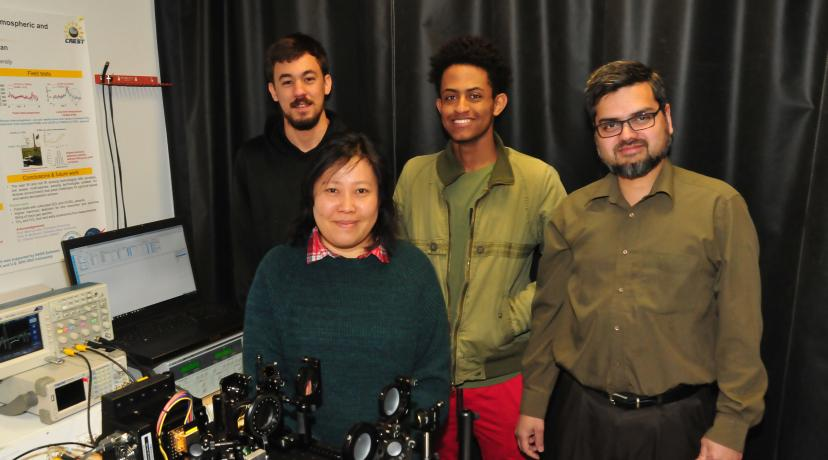 <p>Chemical/Biological Warfare Sensor researchers: (l-r) Caio Azevedo, May Hlaing, Luil Menberu, and Dr. Mohammed Khan.</p>