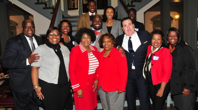 <p>A DSU delegation -- headed by DSU Acting President Wilma Mishoe and including state Reps. Stephanie Bolden and Sean Lynn -- is all smiles after the state House of Representatives unanimously passed Senate Bill 90 that adds a fourth year of state funding to the Inspire Scholarship Program.</p>